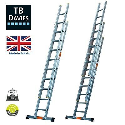 TB Davies EN131 Professional Aluminium Extension Ladders Inc Stabiliser Bars