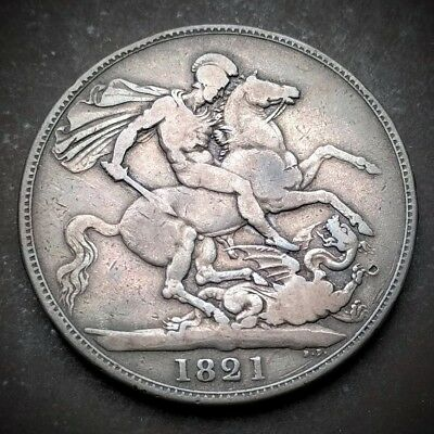 1821 Crown - George IV / IIII British Milled Silver Coin, Five Shillings