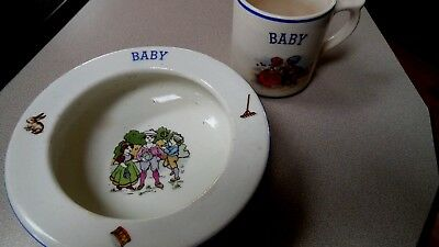 Vintage Baby Cup and Bowl Ceramic