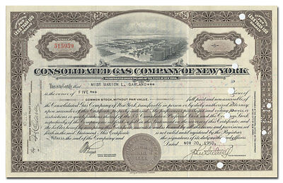 Consolidated Gas Company of New York Stock Certificate