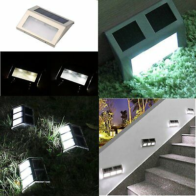 10X 2/6LED Solar Power Path Stair Outdoor Light Garden Yard Fence Landscape Lamp