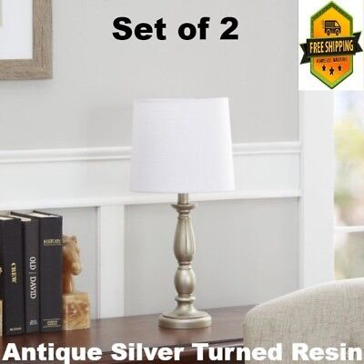 Table lamp lamps for Bedroom nightstand Living room set of 2 With White shade