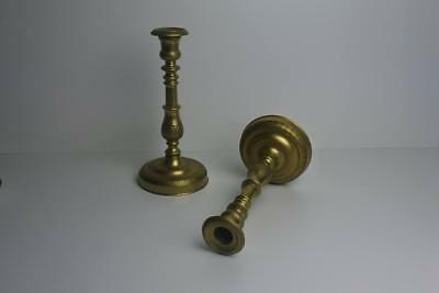 Rare Early 19th Century French Brass Candlesticks Georgian 1830