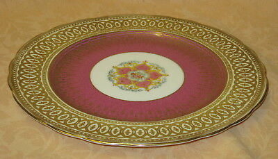 """Stunning George Jones Crescent China Pink Gilded 10.5"""" Cabinet Plate dated 1929"""