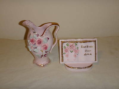 Vintage Lefton China Pitcher And Planter-Pink Color