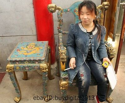 47 Chinese Royal 100% Pure Copper Bronze cloisonne 9 Dragon table chair Throne S