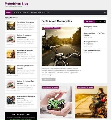 Motorcycle Website Blog and Online Store for Sale - Turnkey Business Opportunity