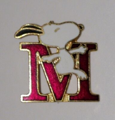 Peanuts Snoopy Letter M Initial Pin