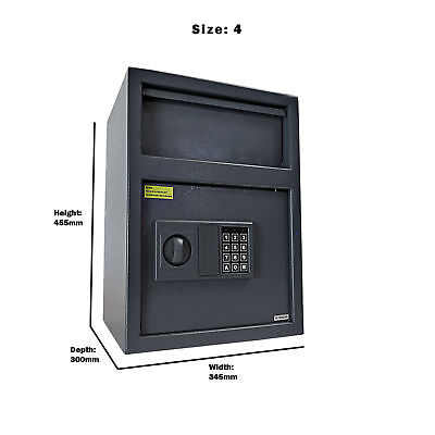Large Cash Safe Security Key Lock Safety Digital Steel Home Office MoneyBox
