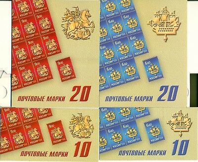 RUSSIA 2009 Sc# 7157-58, Emblems St.Petersburg Moscow Booklets of 10 and 20, MNH