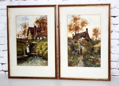 Set of 2 Vintage Framed Watercolour Paintings Cottage Signed R M [PL4379]