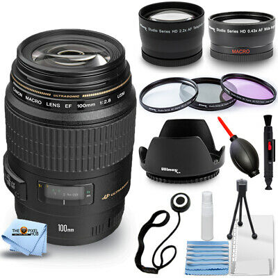 Canon EF 100mm f/2.8 Macro USM Lens #4657A006 PRO BUNDLE BRAND NEW