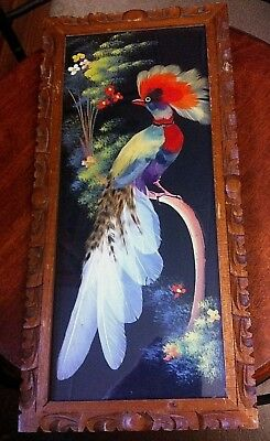 Hand Made Carved Mexico Wood Framed Silver Pheasant Feathers Bird Picture 15 X7""