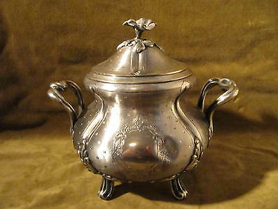 early 20th c large french guilloche sterling silver sugar bowl Louis XVI st 457g