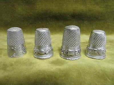 antique french alloy silver 4 thimbles greek keys, rococo & flowers