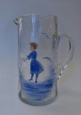 Antique Mouth Blown Art Glass Pitcher, Mary Gregory Style, Hand Pained & Pontil