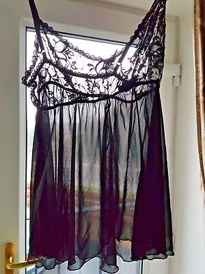 Vintage Camisole, playdress Black lace sheer floaty soft polyester large (T71)