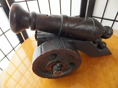 Vintage Wooden Hand Made Military Field Cannon, French, Quality Solid Heavy Wood
