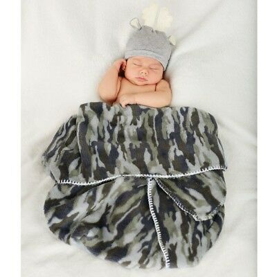 Mud Pie E8 Baby Boutique 0-3mo Boy Camouflage Camo Blanket /& Deer Hat 2102254