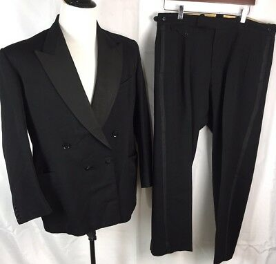 Vtg 60s Jackson The Tailor Wide Lapel Double Breasted Tuxedo Suit 44 36x28