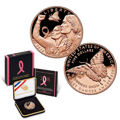2018-W Breast Cancer Awareness Commemorative $5 Gold Proof Coin (OGP/COA)