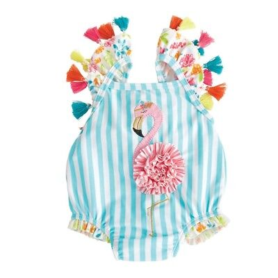 Mud Pie E8 Baby Toddler Girl Flamingo Tassel One-Piece Swimsuit 1122139 Choose