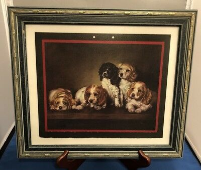 ADELAIDE HIEBEL 1940 Calendar Cover Framed Art Cocker Spaniel Dog Puppies Cute