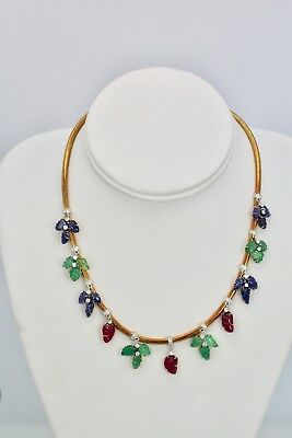 Tutti Frutti Necklace Diamonds Carved Emeralds, Rubies, Sapphires 18K Gold