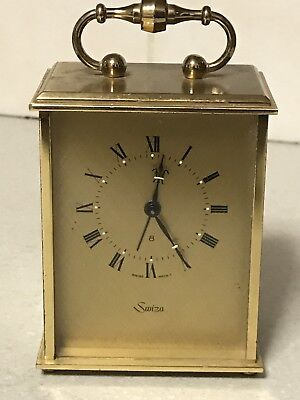 Vintage Solid Brass Case Swiss Made Swiza 8 Day Alarm Wind-Up Carriage Clock