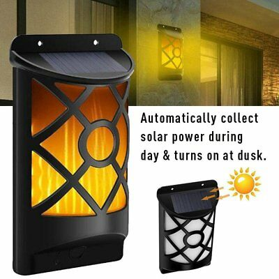 1/2 Pcs Solar Powered Wall Lights Waterproof Flame Outdoor Garden Lamp