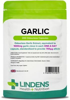 Garlic 1000mg 200 Odourless Capsules Blood pressure Cholesterol heart Lindens UK