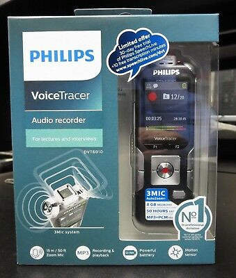 NEW Philips DVT6010/00 Voice Tracer Audio Recorder (DVT6010/00) 1.8-in 8GB