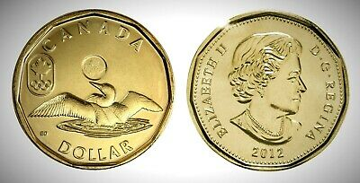 Canada 2012 Olympic Lucky Loonie BU UNC From Mint Roll!!