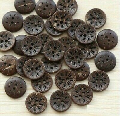 """Lot of 10 FLOWER 2-hole Brown Coconut Shell Buttons 5/8"""" (15mm) Craft (1266)"""
