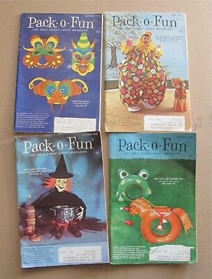 Pack-O-Fun Scrap-Craft Magazines (4) 1970-72 Two Halloween Issues