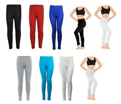 Girls Plain Leggings UK Made Viscose Elastane Children Kids Dance Ages 1-13