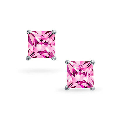 1/2 Ct Diamond Stud Earrings Pink Princess Cut Solitaire Earrings 14K White Gold