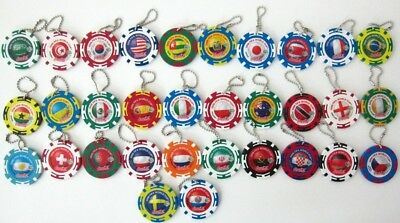 Lot of 32 Coca Cola Japan 2006 FIFA World Cup Coin Key Fob Phone Fob Coke Disc