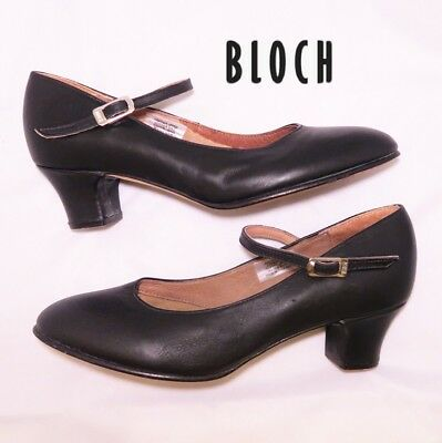 """Bloch Dance Shoes Character 2""""heel Leather Upper/sole Coton Lining Black 8 Euc"""
