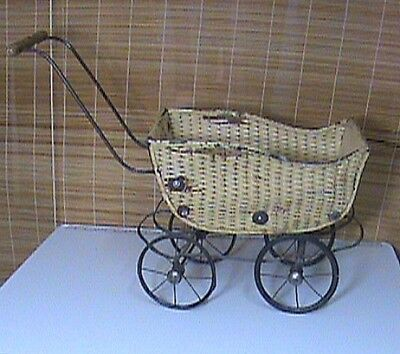 Antique Vintage Doll Buggy Carriage Metal Wicker