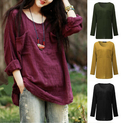 Womens Casual Cotton&Linen T-Shirt Tops Long Sleeve Loose Oversized Blouse Solid