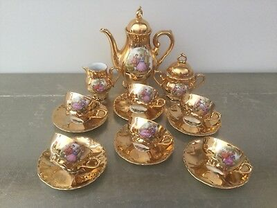 French 17 Piece Coffee Set Item No 831 Fragonard Courting Scenes Good Condition