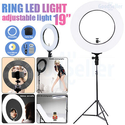"Photo 19"" 5500K Dimmable Diva Ring LED Light Diffuser Stand Make Up Live Show"