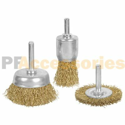 3 Pcs Brass Wheel & Cup Wire Brush Drill Bit Set Rust Paint Cleaning Attachment