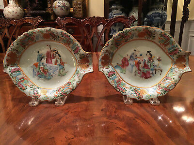 A Pair Excellent Chinese 19th C Rose Mandarin Porcelain Dishes.