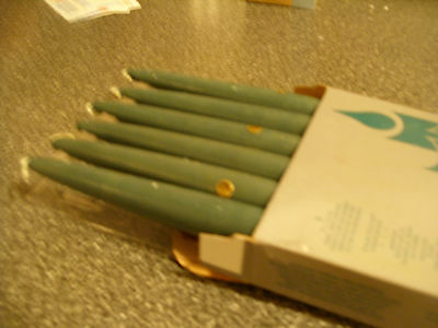 Partylite UNSCENTED 6 in BLUE HANDIPT TAPERS  SET OF 6  NIB