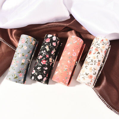 Floral Cloth Lipstick Case Holder With Mirror Inside & Snap-On Closure NJ