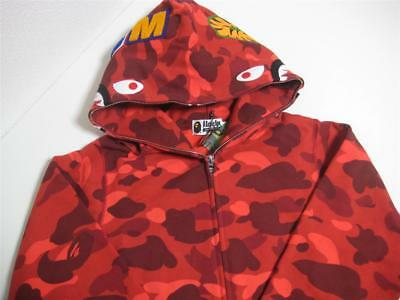6ba21fef0f24 A BATHING APE COLOR CAMO SHARK FULL ZIP HOODIE red S 18ss bape made in Japan