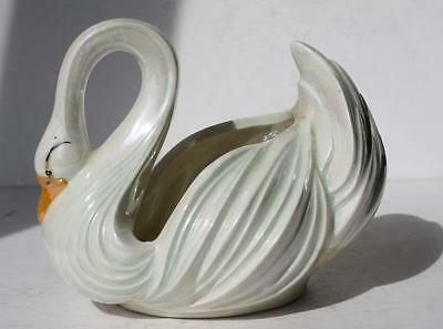 Swan Figure Large Holland Mold Planter Lustreware Iridescent Color Beauty-GREAT