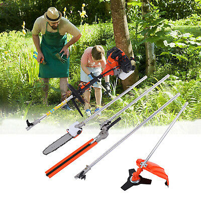 5 in 1 52cc Powerful Petrol Hedge Trimmer Chainsaw Brush Cutter Grass Trimmer